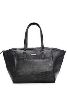 Mango Large Tote Handbag Bluish Gray with Crocodile motive #SepPayDay