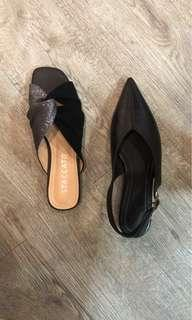 NEW - Stacatto Black Flats / Mules