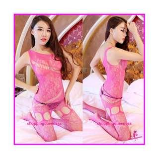 Rose Red Sloping Shoulder Fishnet Body Stocking Hosiery Sexy Lingerie Baju Tidur Cosplay WL082