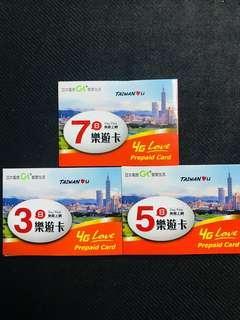 亞太電信 樂遊卡 4G 不限速 台灣 台北 高雄 台中 7日 無限上網