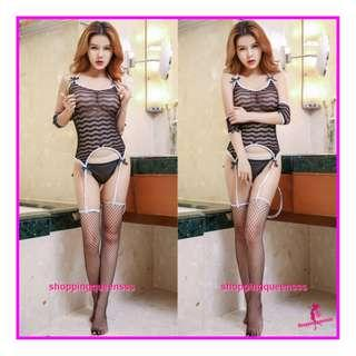 Black Sexy Fishnet Body Stocking Garter Belt Set Sleepwear Lingerie Baju Tidur WL6048