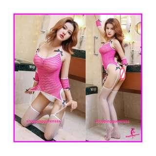 Sexy Lingerie Sleepwear Costume Body Stockings Cosplay Baju Tidur Pajamas WL6048 Rose-Red