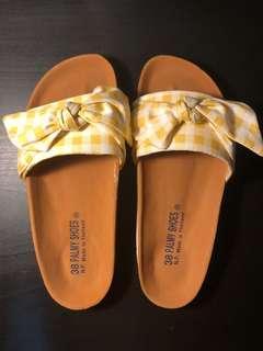 Yellow Plaid Bow Boho Sandals