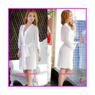 Sexy Lingerie Sleepwear Costume Jubah Robes Cosplay Baju Tidur Pajamas WL6003 White