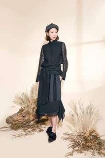 41折 全新 Rococo 2018AW黑色lace厘士通花恤衫top