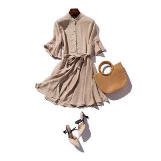 ✅ Korean Style Khaki Dress