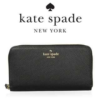 🚚 ✅[INSTOCK] Kate Spade New York Saffiano Long Lady Wallet (Black / Shiny Pink)
