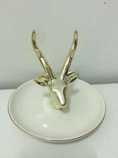 🚚 (全新)鹿角展示飾品陶瓷盤