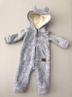 Carter's zip up hooded sherpa jumpsuit (3months)