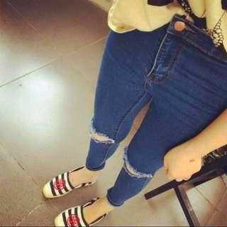 🚚 Knee Slit Highwaist Jeans