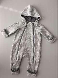 H&M fleece overall light gray (2-4mos)
