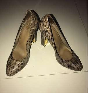 Original TORY BURCH 'Delilah' Brown Snake Skin Heels Size 8.5M From US