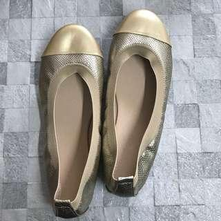 Gold Snake Pattern with Gold Toecap Ballet Flats