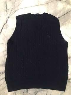 AUTH Ralph Lauren Golf Navy Blue Wool Knit Vest - Good Condition - Size S/M