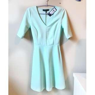 Dynamite Blue Aqua Three Quarter Sleeve Dress with Removable Black Belt - Size Extra Small, unworn, tags on