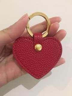 BRAND NEW AUTH Mulberry Red Leather Heart Gold plated Keychain Keyring