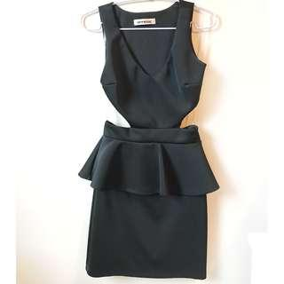 M Boutique/M for Mendocino Black Cut Out Peplum Dress, Size XS-Small