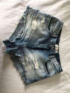 High Waisted Distressed Denim Shorts from Garage