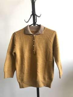 Vintage mustard collar knit top