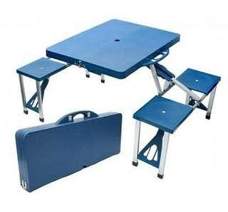Foldable Aluminium & plastic Picnic Table and Chairs Portable