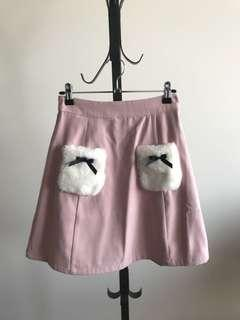 Dusty pink fluffy front pocket A line skirt