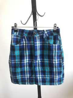 Blue checked mini skirt