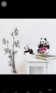 Black bamboo panda wall sticker bedroom living room sofa TV background decorative wall stickers self-adhesive removable