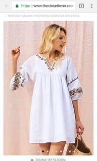 TCL ARAMIE PINSTRIPED EMBROIDERED DRESS