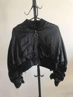 Japan Onespo ribbon sleeves cropped bomber jacket