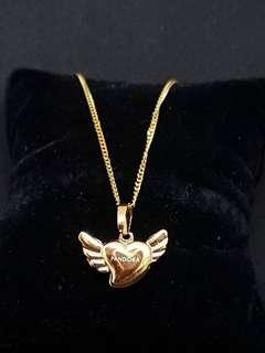 GOLD PANDORA heart with wings Stainless Steel