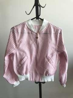 Pink checked see through bomber jacket
