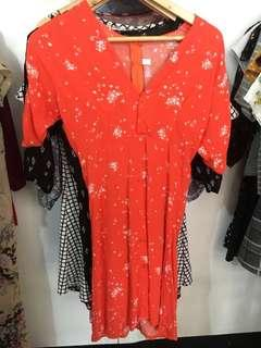 Red Orange Buttoned Down Dress