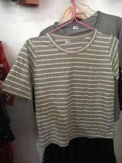 Gray Korean Loose Shirt Stripes