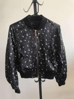 Japan Honey Cinnamon black floral print bomber jacket
