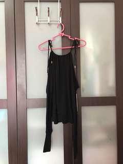 Black Long Sleeves Off-Shoulder (See-through)