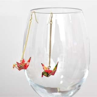2-20 Beautiful Origami earrings paper crane red traditional Japanese gold flower