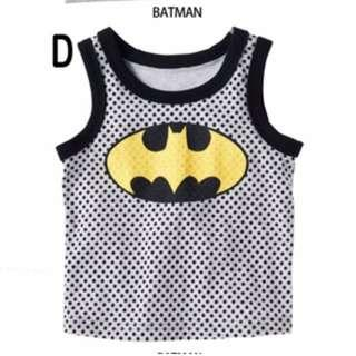 4-6yr old children boys clothes BATMAN SLEEVELESS TOP, SINGLET, SIZE 120 AND SIZE 130 FOR 4-6YR OLD