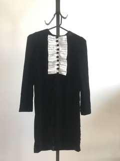 Vintage style feminine black velvet dress