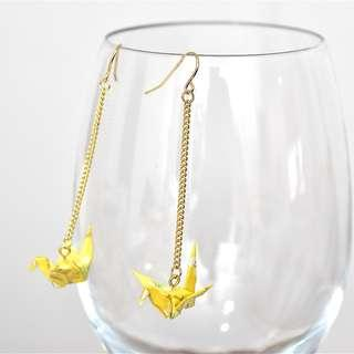 2-21 Beautiful Origami earrings paper crane yellow traditional Japanese flower