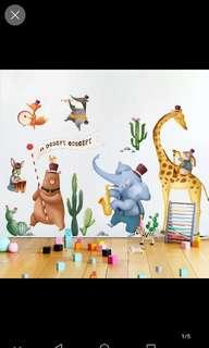 2 in 1 Large Size School Wall Arrangement Cartoon Decoration Kindergarten Wall Sticker Cute Animal Children Room Classroom Large Sticker
