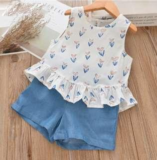 🌟PM for price🌟 🍀Girl Floral Printed Sleeveless Top+Shorts 2pcs Set🍀