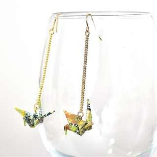2-22 Beautiful Origami earrings paper crane green traditional Japanese flower