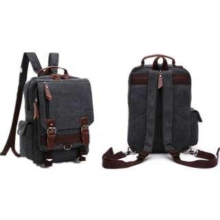 Canvas Backpack(20% leather)