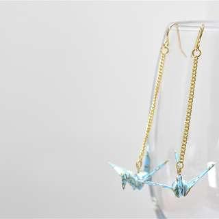 2-23 Beautiful Origami earrings paper crane light blue Japanese flower gold