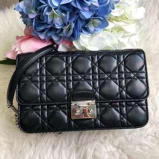 ❌SOLD!❌ Dior Promenade Wallet on Chain in Black Lambskin SHW