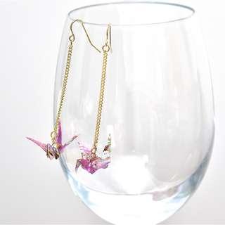2-25 Beautiful Origami earrings paper crane purple Japanese flower gold flower