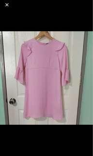 Zara pink flutter dress