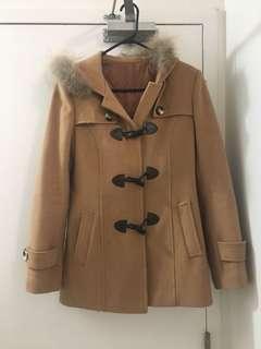 Camel Wool Duffle Coat Size Small