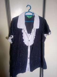 Plus sized stripped blouse