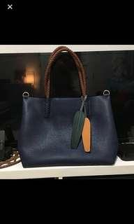 Navy Blue Leather Bag (Practically Brand New)